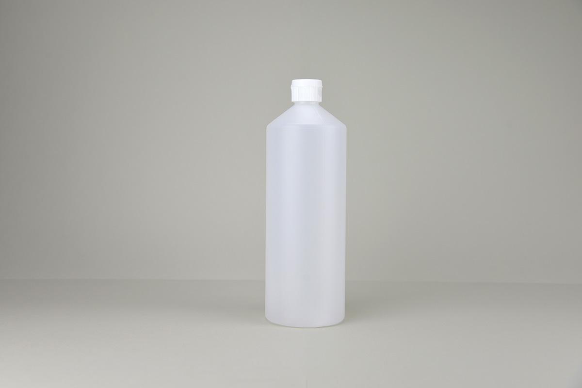 Flacon rond 1 litre en PEHD avec fermeture à clapet