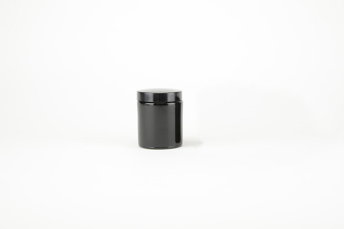 Pots à onguents en verre noir avec couvercle