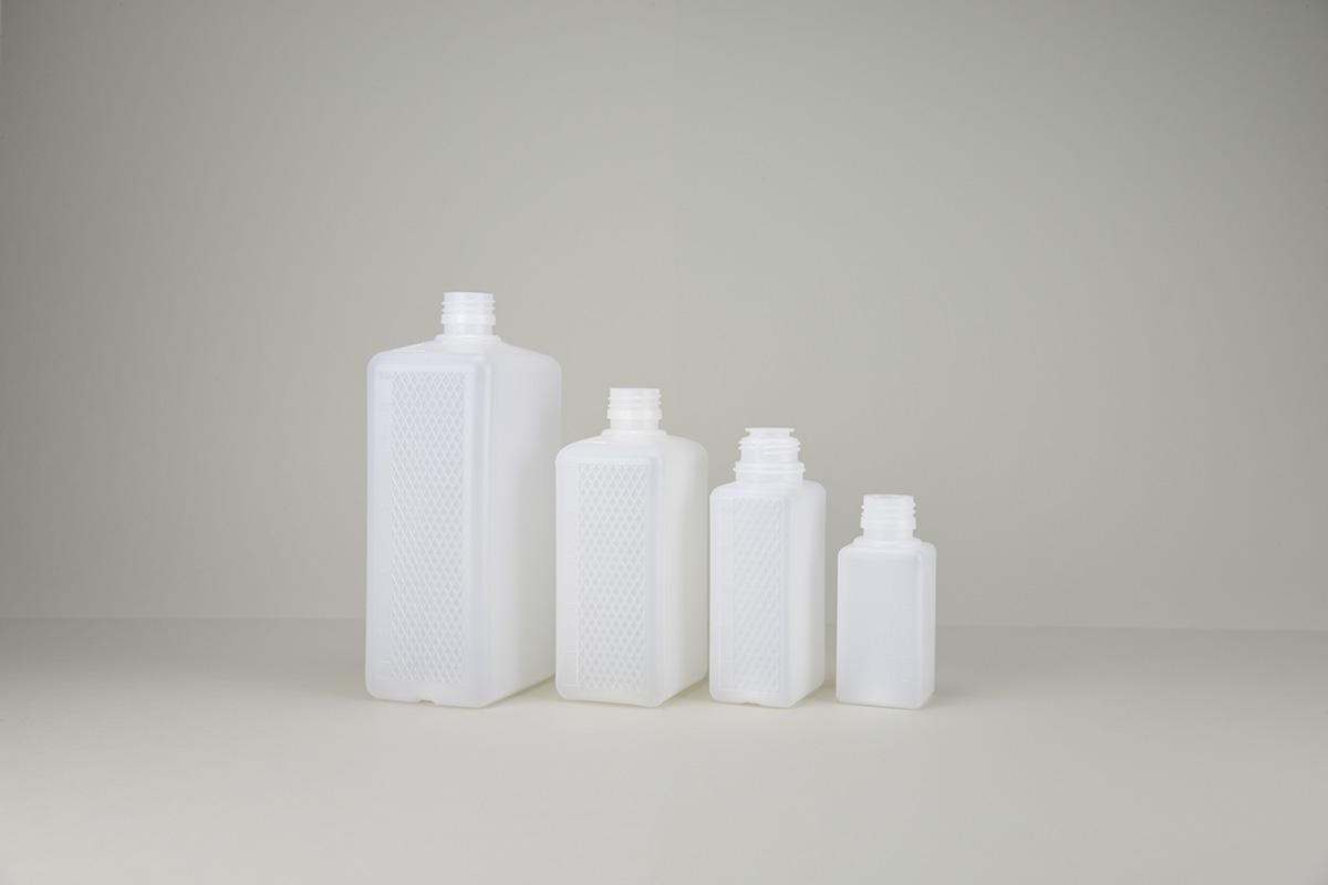 Flacons rectangulaires blancs opaques en HDPE - PP 28
