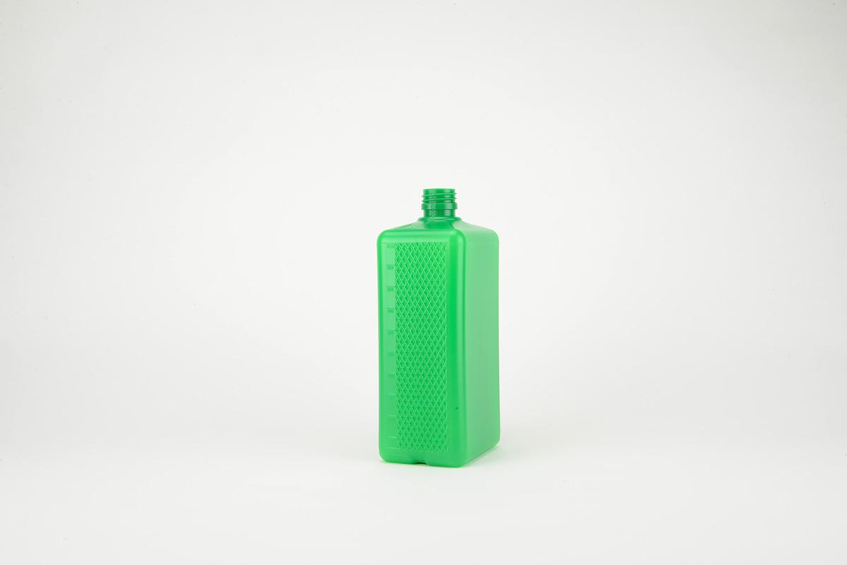 Flacon rectangulaire vert en HDPE - PP 28