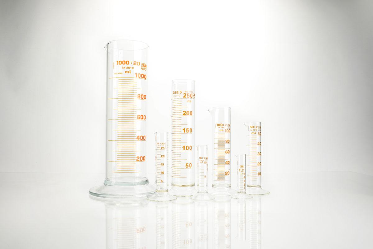 Cylindres gradués forme basse en verre