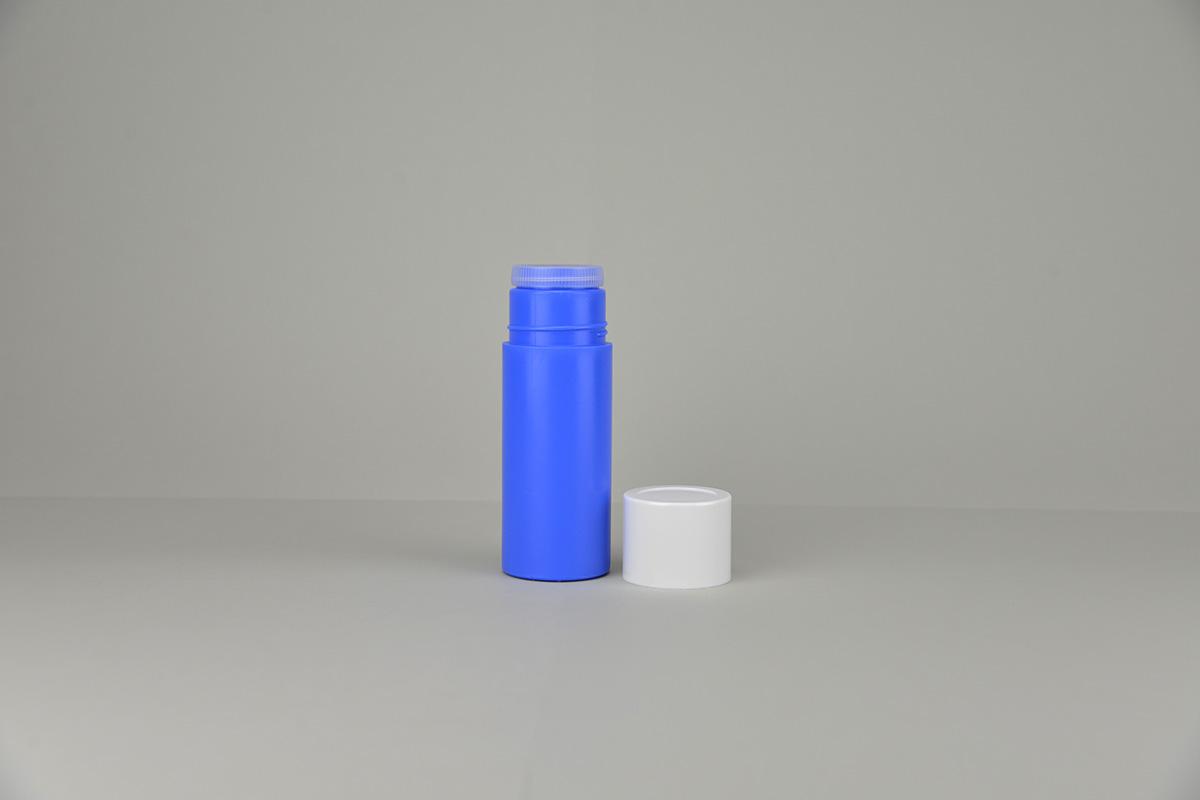 Flacons poudreurs pour talc en polyéthylène avec pastille et capot
