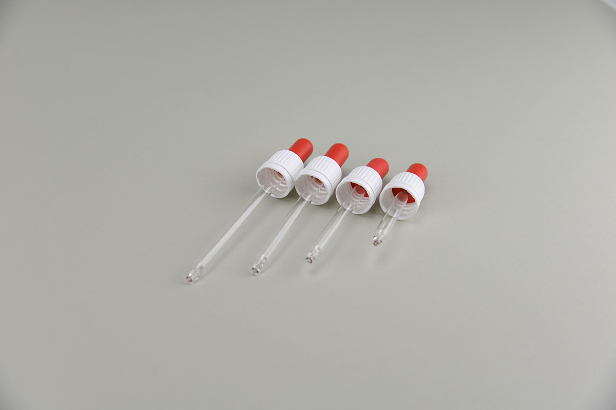 Montures pipettes rouges et blanches pour flacons